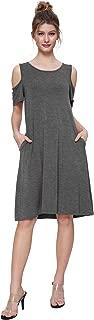 Women's Cold Shoulder Dress Flowy T-Shirt Dress with Pockets