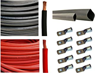 """WNI 8 AWG 8 Gauge 15 Feet Black + 15 Feet Red Battery Welding Pure Copper Ultra Flexible Cable + 5pcs of 5/16"""" & 5pcs 3/8"""" Copper Cable Lug Terminal Connectors + 3 Feet Heat Shrink Tubing"""