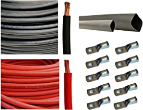 WNI 6 AWG 6 Gauge 15 Feet Black + 15 Feet Red Battery Welding Pure Copper Ultra Flexible Cable + 5pcs of 5/16