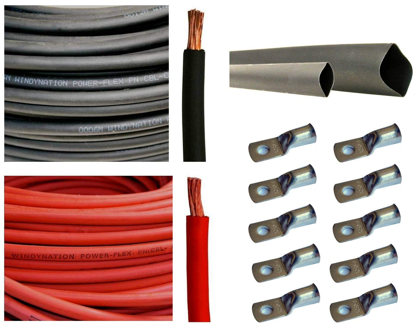 25 Feet Red Crimp Supply Ultra-Flexible Car Battery//Welding Cable 1//0 Gauge and 5 Copper Lugs
