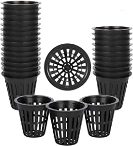 UPMCT 2 3 4 Inch Net Pots, 25 Packs Net Cups with Slotted Mesh Wide Lip, Hydroponics Supplies Growing Accessories for Hydroponics and Aquaponics System (Black, 2 inch)