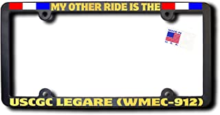 My Other Ride USCGC LEGARE (WMEC-912) License Frame w/REFLECTIVE GOLD TEXT & Ribbons
