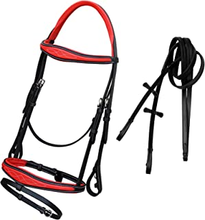 ExionPro Comfort Red Calfskin Lined Mono Crown Piece Designer Fancy Stitched Window Raised Anatomical Browband & Both Side Adjustable Buckle Snaffle Flash Noseband English Bridle & Rubber Reins
