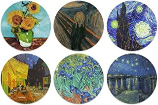 CARIBOU Coasters - Sunflowers Van Gogh, The Scream, Starry Night, Cafe Terrace, Irises, The Starry Night Over The Rhone De...