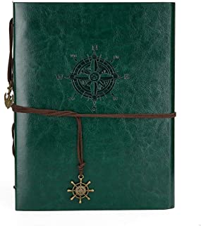 Camilla Baby DIY Scrapbook Leather Photo Album Memory Book 60 Pages for Baby Anniversary Birthday Wedding Travel Graduation Picture (Large, Green Compass)