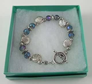 Beaded Bracelet-Beachcomber Swarovski Mystic Water Crystals, Pewter Shells, and Fancy Designer Beads.