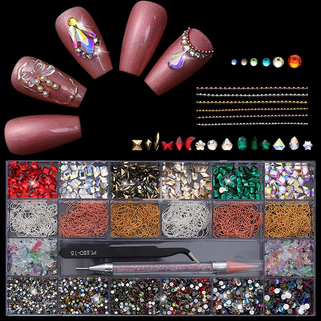 Max 88% OFF HaoNiu 21 Grids Glass Nail Art Decor Selling and selling Multi with Shapes Dual-Ende