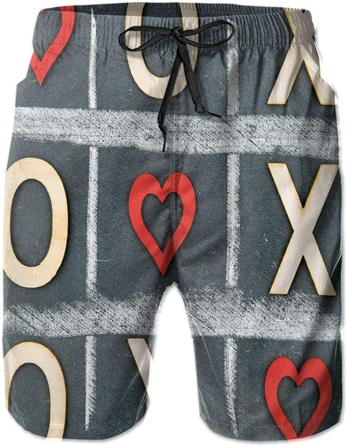 Vintage Style Blackboard with Hugs and Kisses Chalk Love Valentines Concept Mens Swim Shorts Casual Workout Short Pants Drawstring Beach Shorts,XXL
