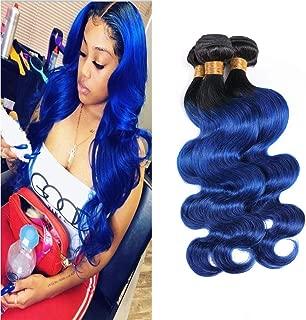 Blue Human Hair Bundles Curly Ombre Weave T1B/Blue Real Human Hair Bundles Sew In Hair Extensions Body Wave Black To Blue Brazilian Hair Bundles For Women 18 20 22 Inch