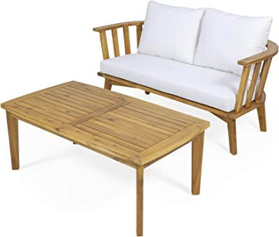 Christopher Knight Home 313174 Helena Outdoor Wooden Loveseat and Coffee Table Set, White and Teak Finish