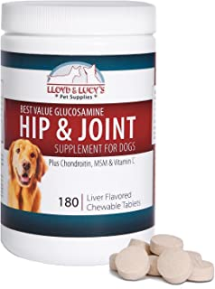 Best Value Glucosamine for Dogs Hip and Joint Supplement with Chondroitin MSM and Vitamin C, 60 or 180 Chewable Liver-Flavored Tablets