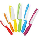 12 Piece Steel Color Knife Set - 6 Steel Dishwasher Safe Kitchen Knives with 6 Knife Sheath Covers - Chef Knife Sets with Bread