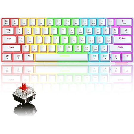 60% Teclado mecánico Cableado/inalámbrico Teclado Bluetooth 5.0 61 Teclas RGB Rainbow LED con retroiluminación USB Tipo C Teclado para Juegos a Prueba ...