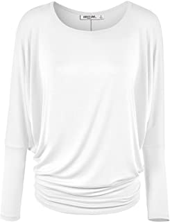 Lock and Love Women` s Flowy and Comfort Draped Long Sleeve Batwing Dolman top S-3XL Plus Size
