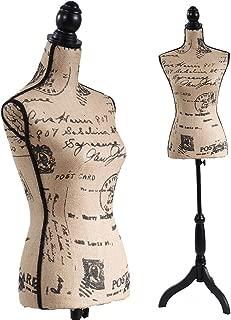 Female Mannequin Torso Dress Form Black Tripod Stand Monogram Style