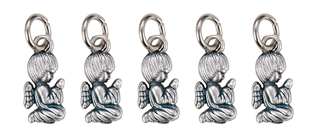 Silver-Toned Pewter Kneeling Guardian Angel Pendant, 1/2 Inch, Pack of 5