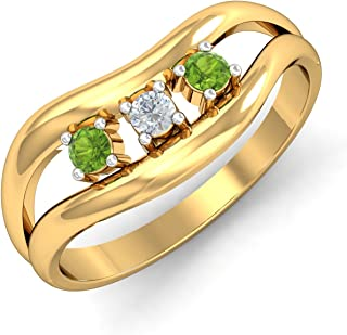 KuberBox Yellow Gold, Diamond and Peridot Ring for Women