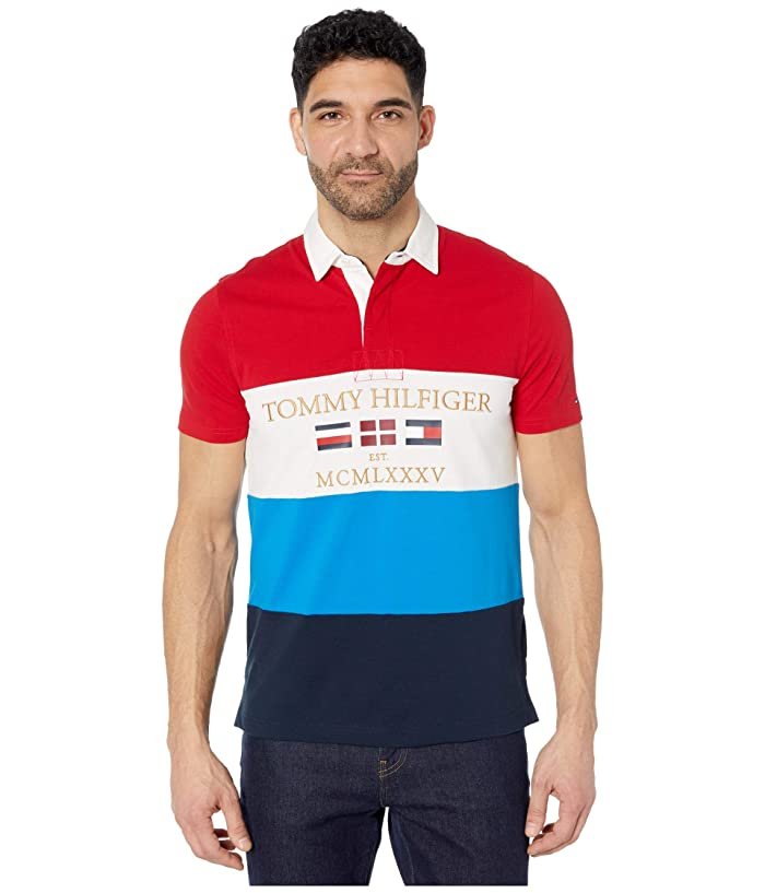 Tommy Hilfiger Adaptive  Custom Fit Short Sleeve Rugby (Haute Red/Multi) Mens Clothing