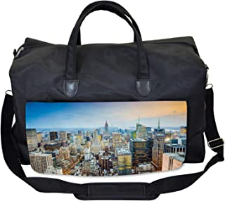 Ambesonne Urban Gym Bag, Aerial View New York City, Large Weekender Carry-on