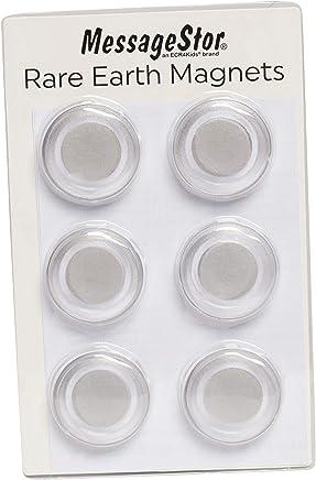 ECR4Kids 干擦板圆形磁铁,玻璃板,布告板,冰箱- 稀有地钕磁铁,透明(6 件装)