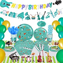 Music Party Decorations for Kids, 170 Pcs Musical Instrument themed Birthday Party Supplies, Bass Guitar Happy Birthday Banner, Party Balloons, Invitation Envelopes