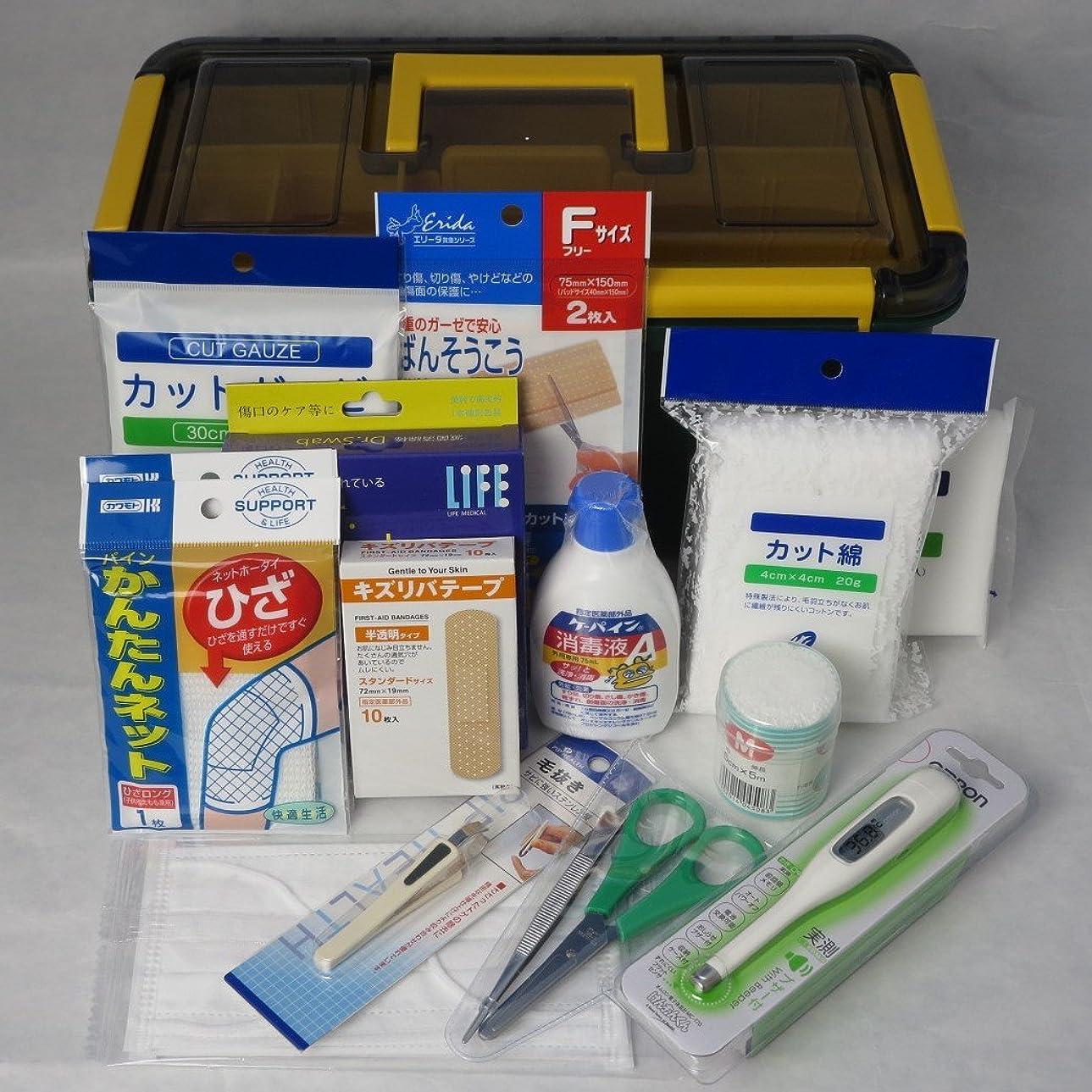 データフィドル力学外傷用救急箱 防滴タイプ 応急手当用品18点セット 労働安全衛生規則準拠 外現場向け