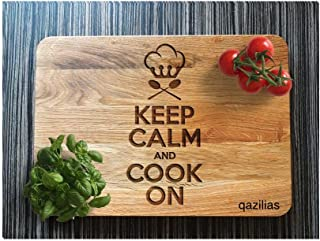 Cook on - Personalized Carved Engraved Wood Cutting Board with Juice Groove. Best Kitchen Chopping. 15.7x9.8x0.6 Inch Kitchen Tool. Made of superb oak.