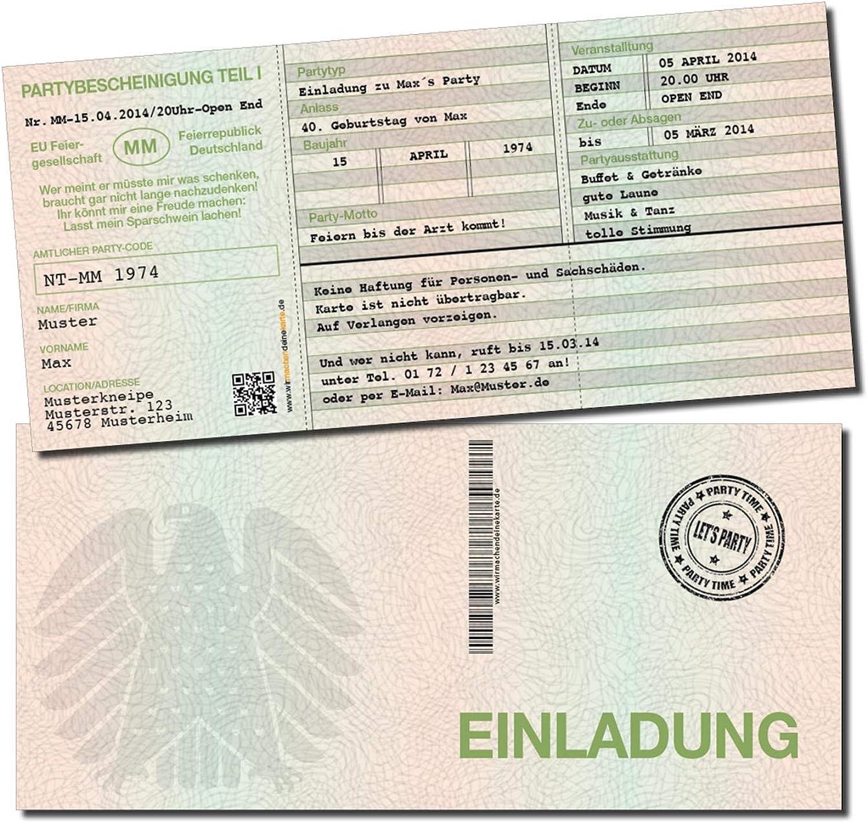 Einladung Einladungskarte Geburtstag Geburtstag Geburtstag (30 Stück) Fahrzeugschein individuell B07MZ8ZXML | Rabatt  358acd