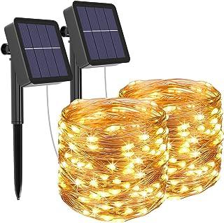 [2 Pack] Guirnaldas Luces Exterior Solar, Litogo Luces Led Solares Exteriores Jardin 12m 120 LED 8 Modos Cadena de Luces Decoracion para Navidad, Terraza, Fiestas, Bodas, Patio, Jardines, Festivales