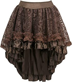 Charmian Women's Steampunk Retro Gothic Vintage Satin High Low Skirt with Zipper
