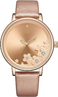 ساعة يد نسائية من الجلد كوارتز ساعة عصرية للسيدات ساعة يد فاخرة للنساء (اللون: C)