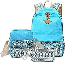 HITOP Backpacks for Teen Girls, Cute Fashion School Student Bookbag Set, Laptop Bag Shoulder Bag Pencil Bag 3 in 1 … (Blue (1set))