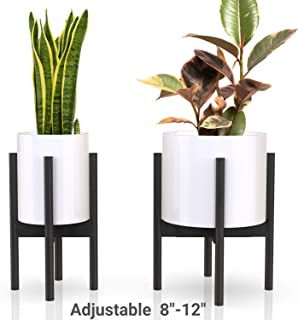 declutterd Plant Stand Adjustable Mid Century Indoor Plant Holder for House Plants, Home Decor - Wood - Fits Planter 8 to 12 Inches - Excludes Plant Pot (Black 2-Pack)