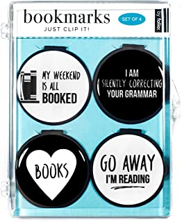 Just Clip it! Quote Bookmarks - (Set of 4 clip over the page markers) - MY WEEKEND is all BOOKED, I AM Silently correcting your GRAMMAR, BOOKS, GO AWAY, I'm Reading