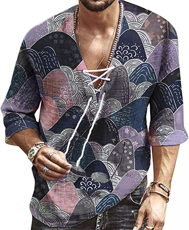 WUAI-Men Cotton Linen Henley Shirts 3/4 Sleeve Hippie Casual Summer Fall Banded Collar Yoga Beach Hawaiian Shirt Tops