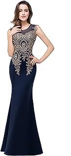127659a4a735 MisShow Women's Rhinestone Long Lace Formal Mermaid Evening Prom Dresses