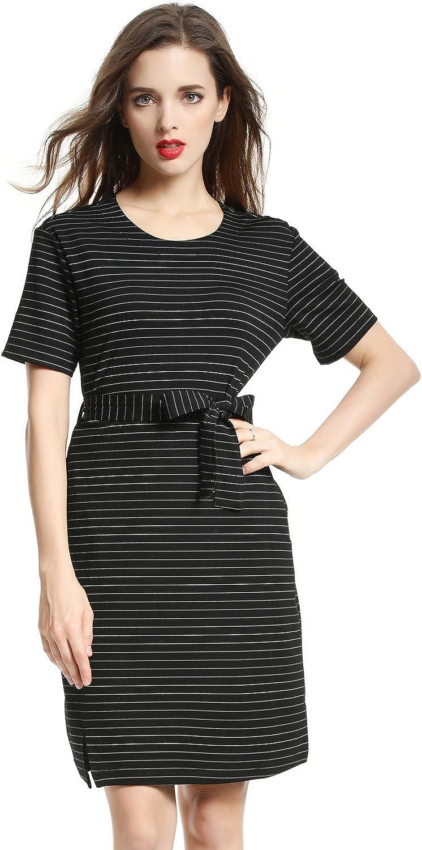 DanMunier Women's Placed Stripe Short Sleeve Round collar Dress