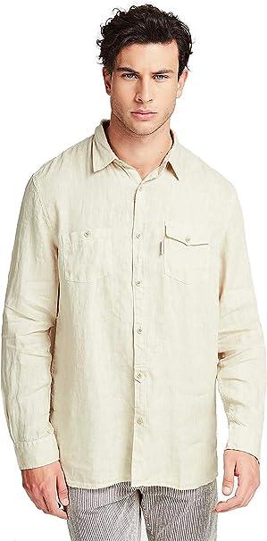 Guess Camisa de lino para hombre, color beige y azul: Amazon ...
