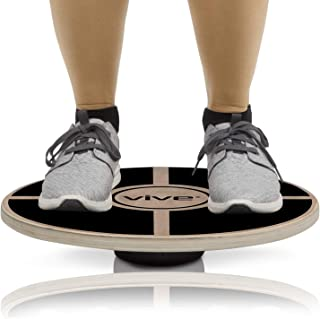 Vive Balance Board - Wooden Self Balancing Wobble Platform - Wood Twist Trainer for Fit Abs, Arms, Legs, Core Tone, Surf, Skateboard, Gymnastics, Ballet, Exercise, Physical Therapy, and Kids