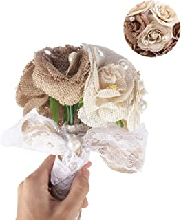 Gofypel Wedding Bouquet Flower Bouquet Bride Burlap with Lace and Pearls