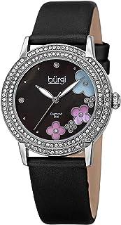 ساعة للنساء بمينا سوداء وبسوار جلد من بورغي - BUR142SSB