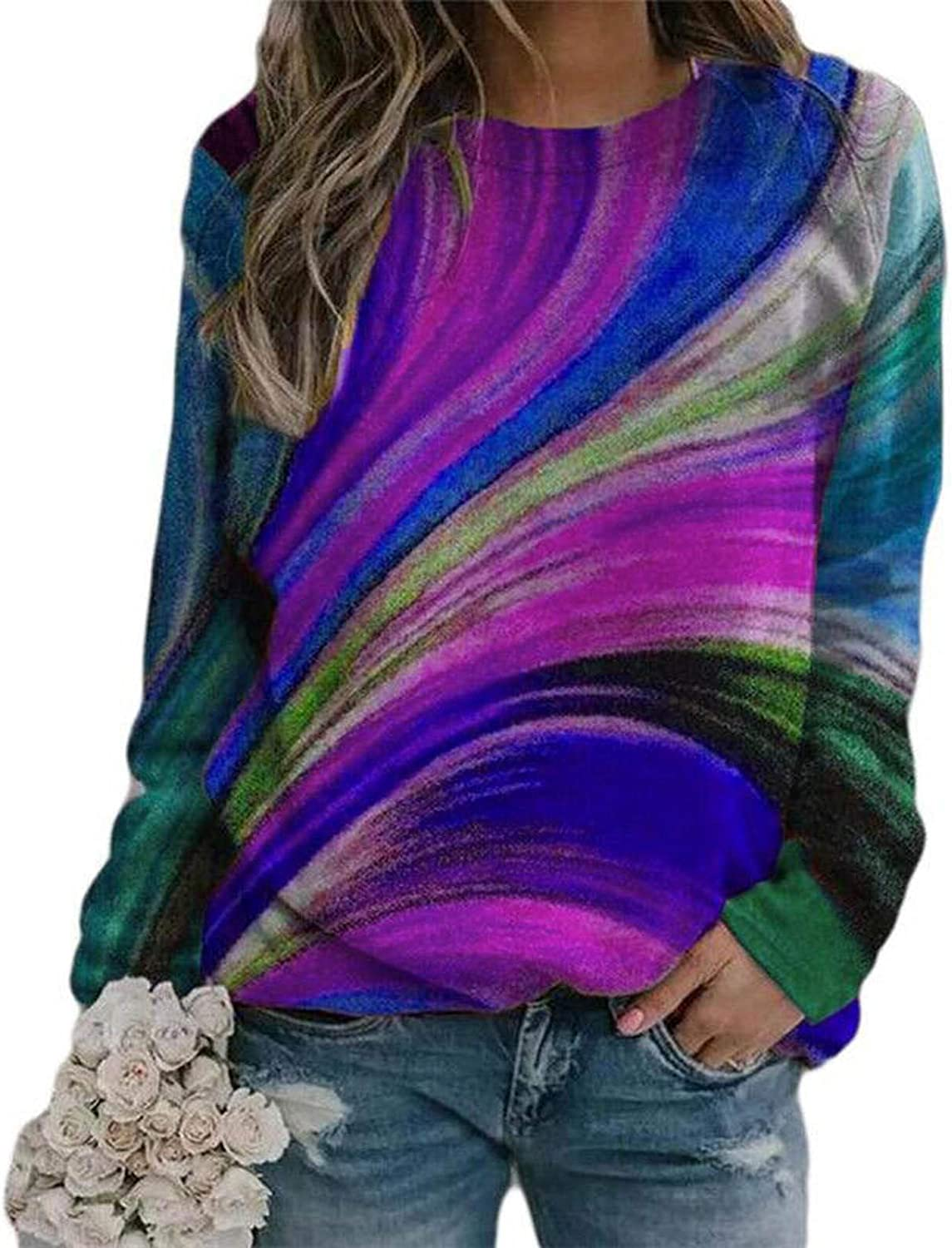 Womens Tops,Women's Long Sleeve Round Neck Casual Colorful Print T-Shirt Blouse Sweatshirt Pullover Lightweight Top