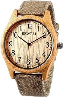 Bewell Reloj Hombre Mujer Cañamazo Eco Bambú Madera Natural