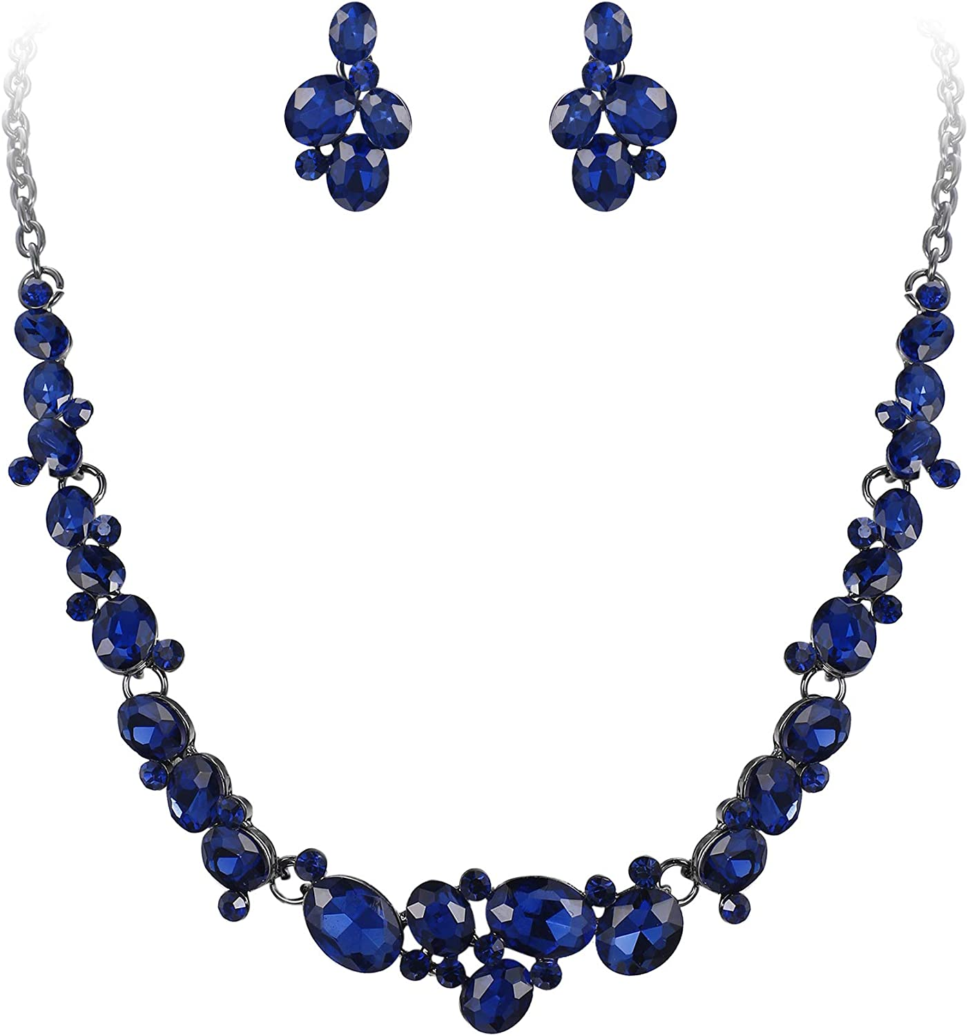EVER FAITH Women's Oval Austrian Crystal Prom Jewelry Gorgeous Bridal Necklace Earrings Set