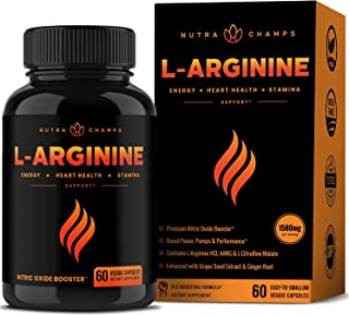 Premium L Arginine 1500mg Nitric Oxide Supplement - Extra Strength for Energy, Muscle Growth, Heart Health, Vascularity & ...