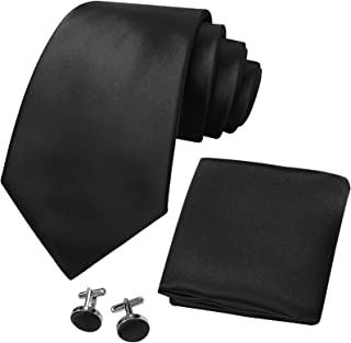 CANGRON Men Color Options Tie Set Necktie with Tie Pocket Square Cufflinks Giftbox ELSC8ZH