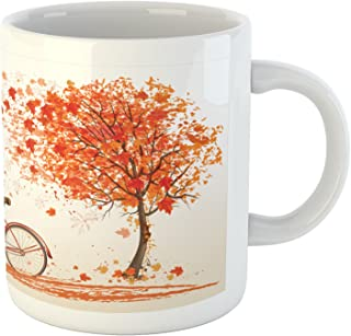 Ambesonne Bicycle Mug, Autumn Tree with Aged Old Bike and Fall Tree November Day Fall Season Park Nature Theme, Ceramic Co...
