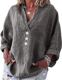 Yidarton Bluse Damen Langarm Oberteil Casual V-Ausschnitt Tops Tunika Lose Baumwolle Große Größen Hemd Leinenbluse
