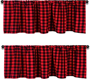 2PCS Buffalo Plaid Valances for Kitchen 72 X 16inch for Kitchen Buffalo Checkered Curtain Valance (Black and Red)