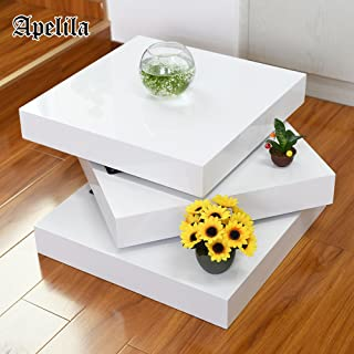 Apelila High Gloss White Square Rotating Coffee Table Wood Rectangular Modern Side/End/Sofa Table 3 Layers Living Room Home Office Furniture